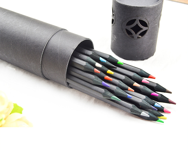 24PCS black wood color pencil set