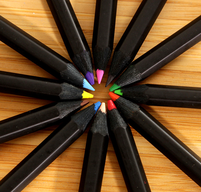 12PCS 3.5 Inch black wood color pencil